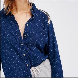 Free People Sage Sweater Buttondown Shirt Women's